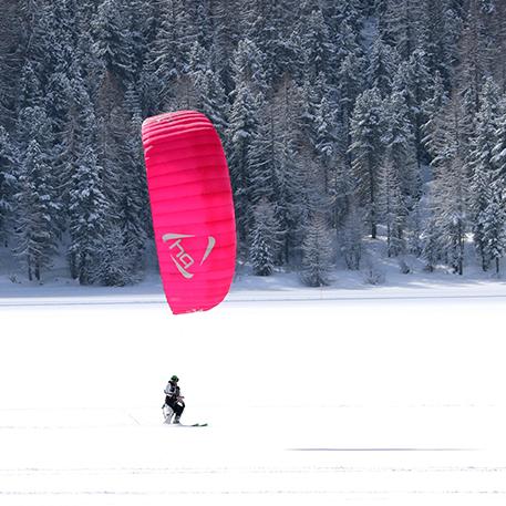 corso snowkite sull lago di Silvaplana